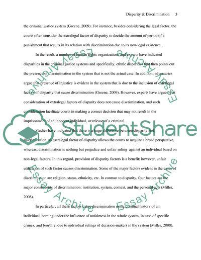 Disparity and Discrimination Essay