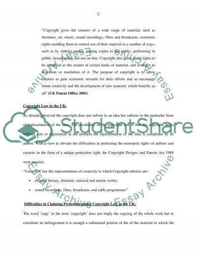 INTELLECTUAL PROPERTY COURSEWORK ASSIGNMENT Essay example