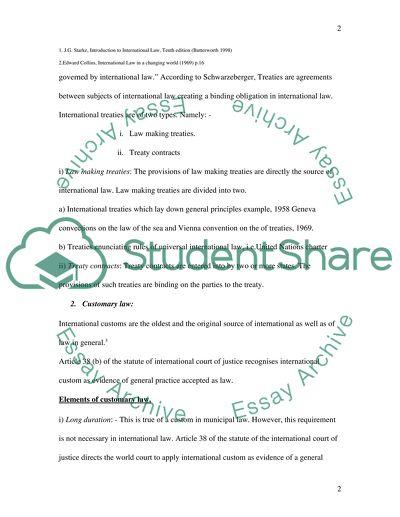 Public International Law Essay - Words