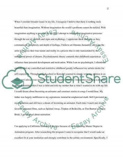 Artist Statement Visual Arts and Film Studies Personal Statement