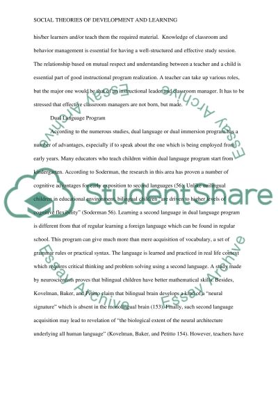 Social Theories of Development and Learning essay example