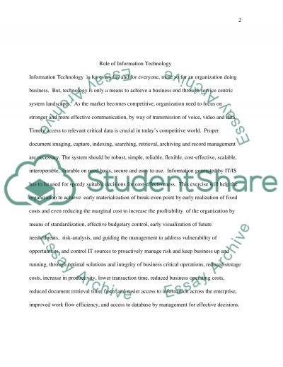 Role of Information Technology essay example