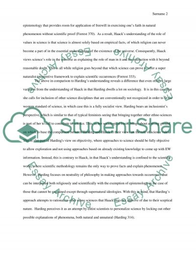 Compare and contrast Hardings understanding of the role of values in science to Haacks understanding of values in science essay example