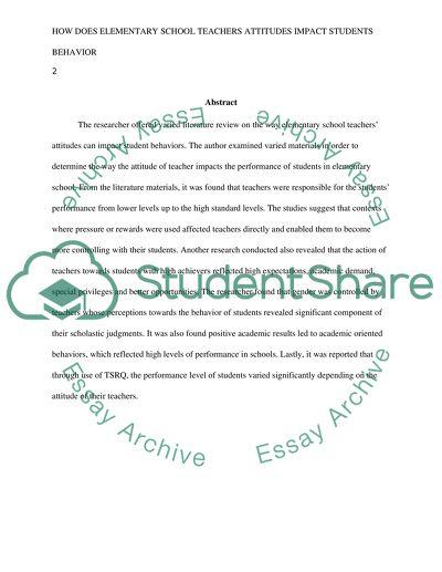 How Does Elementary School Teachers Attitudes Impact Students Behavior