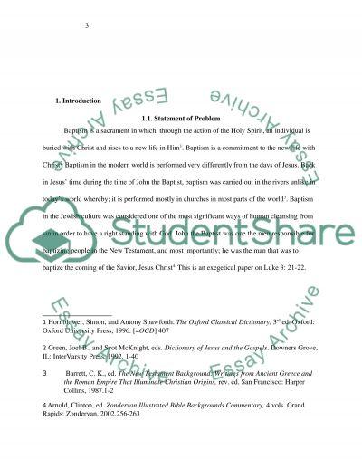 Bible Exegetical Paper on Luke 3:21-22 essay example