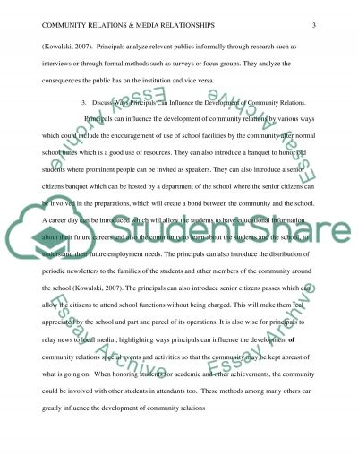Community Relations & Media Relationships essay example