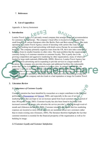 London Travel Agency Services Marketing essay example
