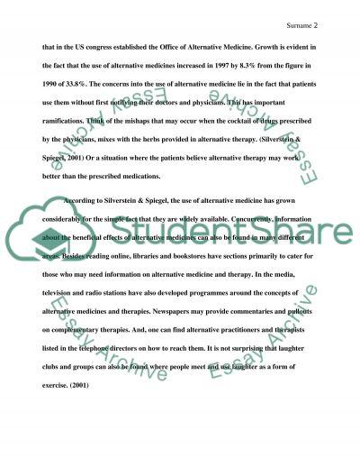 conventional medicine essay example