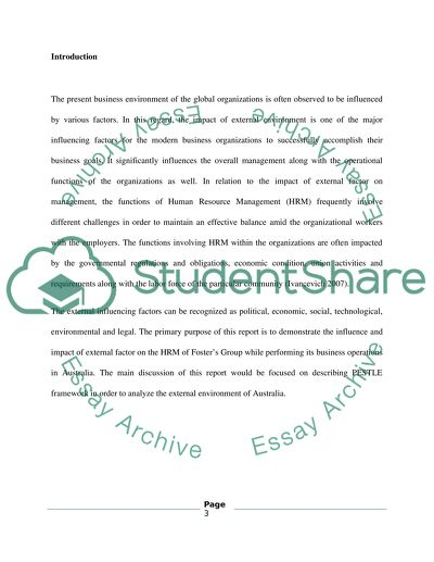 Essay - Analysis of the external environment and issues that will impact on HRM