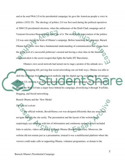 Barrack Obamas Presidential Campaign in 2008 and Web 2.0 essay example