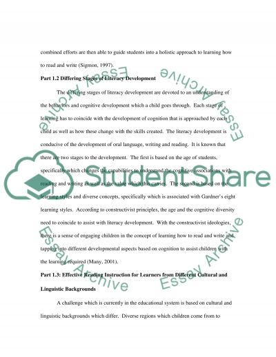 Literacy Project- Emergent Reading essay example