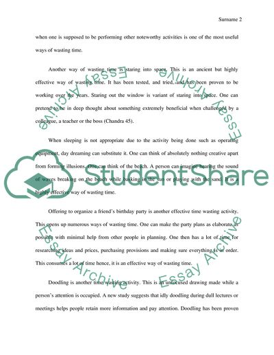 Essay Topics For Research Paper How To Waste Time What Is A Thesis Statement In A Essay also Essay On Business Ethics How To Waste Time Essay Example  Topics And Well Written Essays  Business Law Essays
