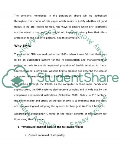 Privacy of lectronic medical records essay example