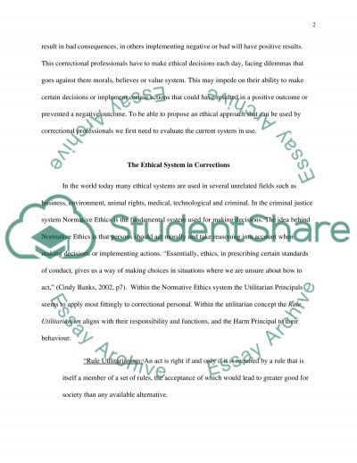 Ethics and corrections essay example