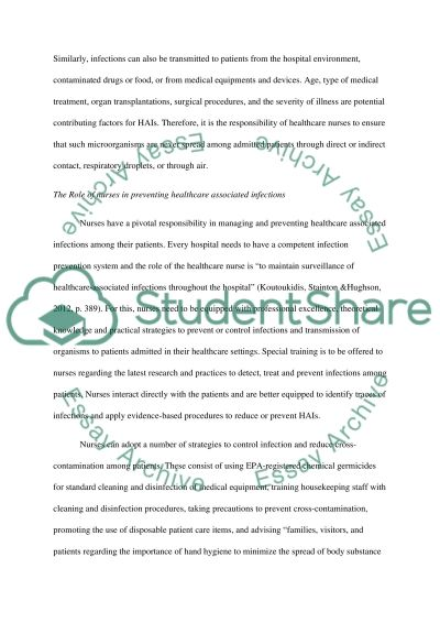 The nursesrole in the prevention of healt care -associated essay example