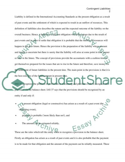 Contingent Liabilities essay example