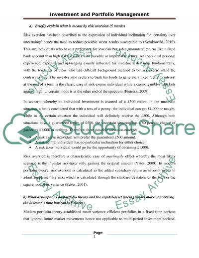 INVESTMENT AND PORTFOLIO MANAGEMENT essay example