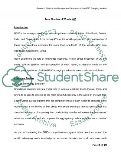 BRIC Emerging Markets essay example