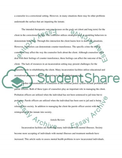 The process of correctional counseling and treatment essay example