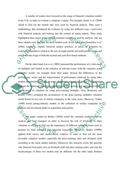 Valuation Models Literature Review Essay Example  Topics And Well  Valuation Models Literature Review Science Essay Ideas also What Is A Thesis Statement In A Essay  Psychology As A Science Essay