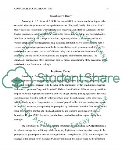 Corporate social reporting Essay example