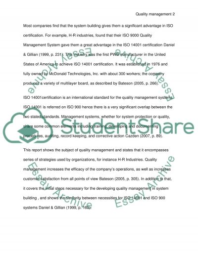 Quality Management in the Systems Building Process essay example