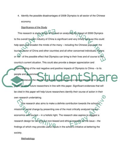 Essay Proposal Example The Impacts Of  Olympic Games To Chinese Tourism Industry Personal Essay Samples For High School also Topic English Essay The Impacts Of  Olympic Games To Chinese Tourism Industry Essay Thesis Statement For Persuasive Essay