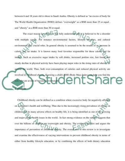 The prevention of Obesity in Childhood essay example