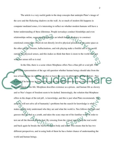 Philosophy: The Matrix Essay example