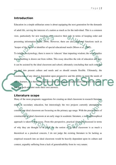 The Ideal Classroom and School essay example