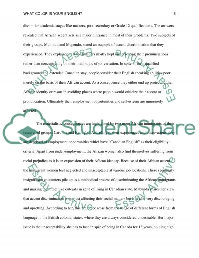 What Color Is Your English essay example