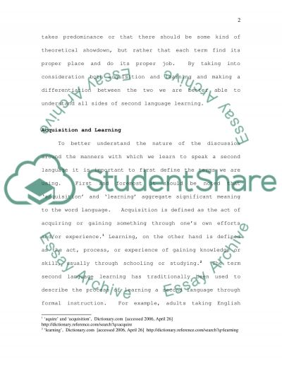 The Importance of Distinguishing Between Acquisition and Learning in Second Language Performance essay example