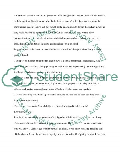 Juvenile justice Thesis essay example