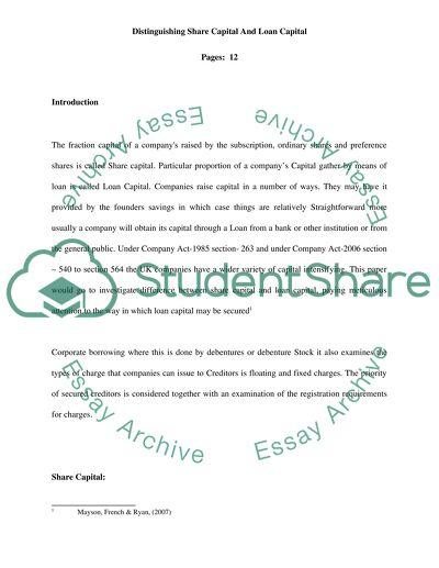 Distinguishing share capital and loan capital essay