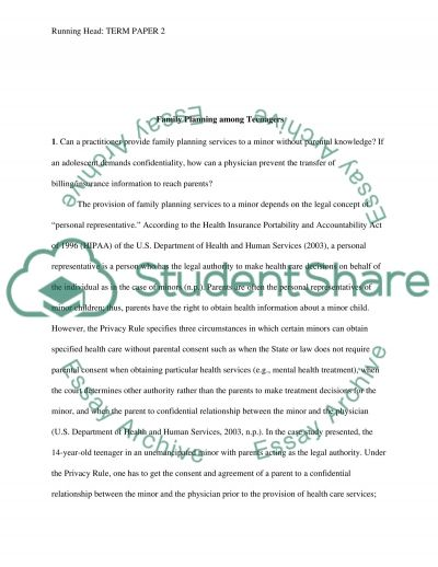 Family Planning among Teenagers essay example