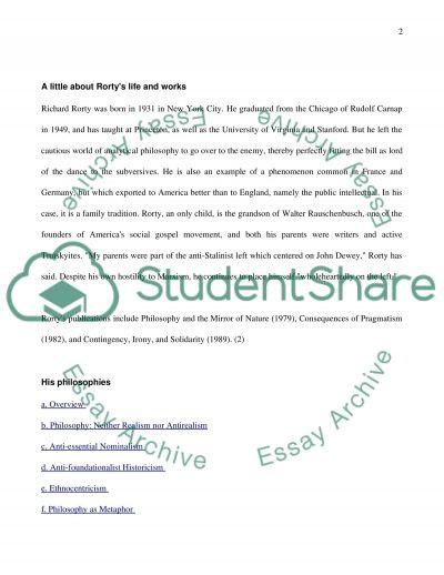 Richard Rorty essay example