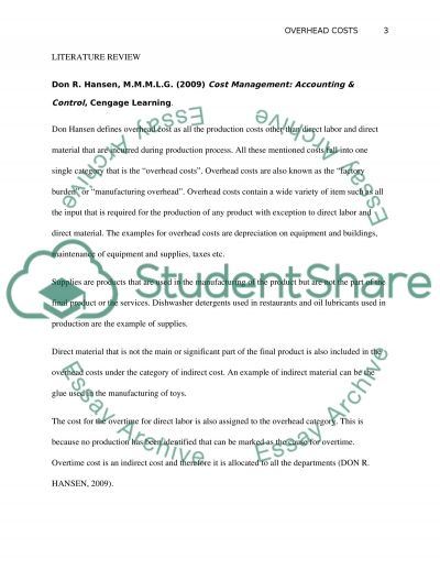 OVERHEAD COSTS essay example