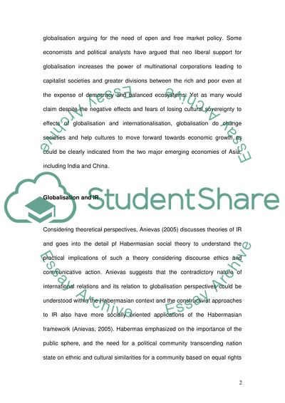 The Yellow Wallpaper Analysis Essay Globalisation And International Relations An Essay On Health also Research Proposal Essay Example Globalisation And International Relations Essay Apa Format Sample Essay Paper
