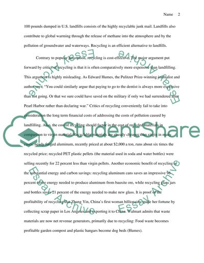 Persuasion Essay: Recycling should be mandatory for everyone