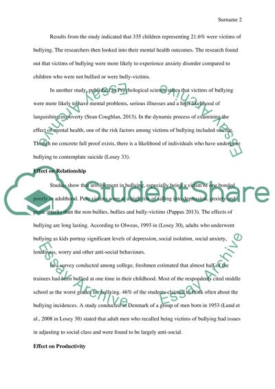 Cause and Effect Essay: How bullying effects the victim