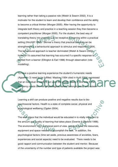 This essay is a reflective discussion using Gibbs cycle on strategies used to facilitate learning, with regards to a student essay example