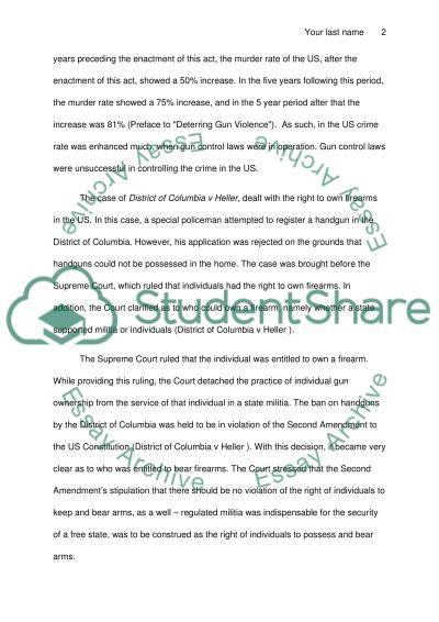 Gun Control/ Argumentative paper against Gun Control