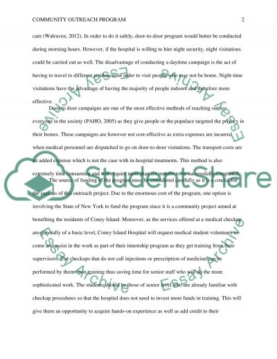 Community Outreach Program Essay example