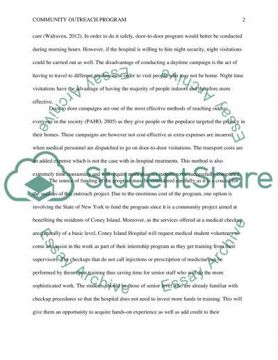Community Outreach Program essay example