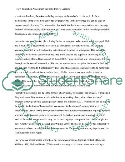 How Formative Assessment Supports Pupils Learning Essay How Formative Assessment Supports Pupils Learning