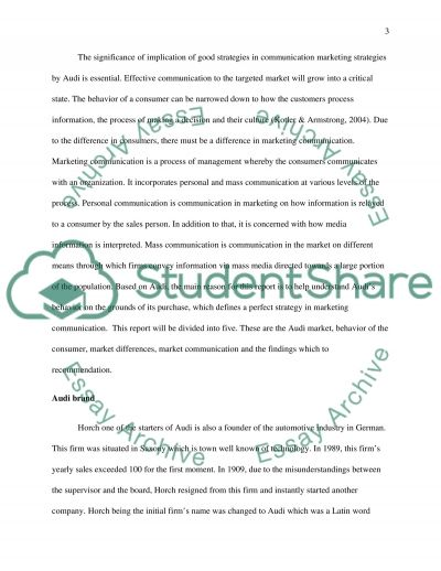 Communication strategy for Audi essay example