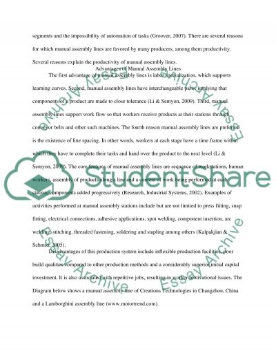 Production systems essay example