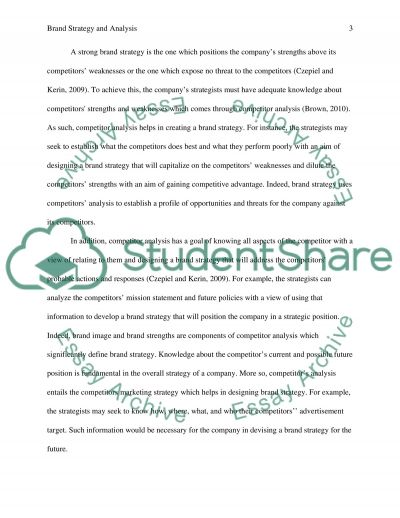 Brand Strategy and Analysis essay example