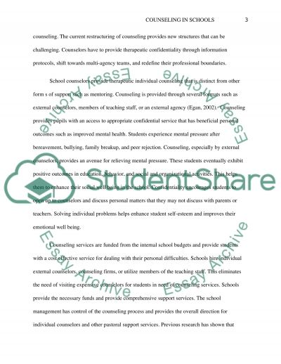 Counseling in Schools essay example