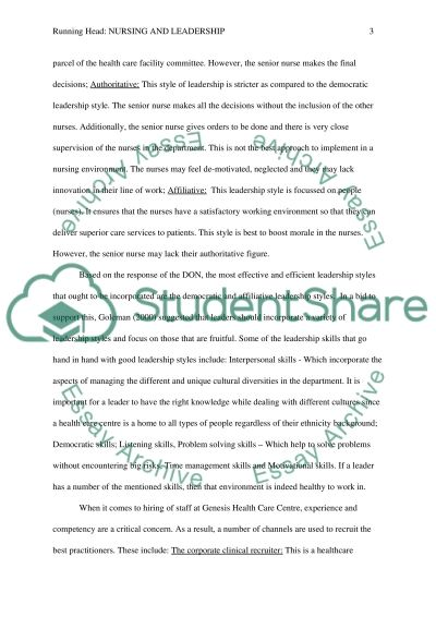 Nursing and Leadership essay example
